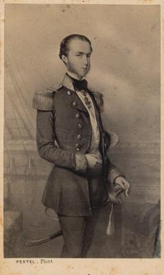 Retrato al óleo de Maximiliano a la edad de 23 años, reprografía