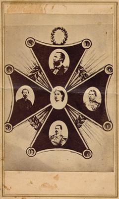Alegoría en forma de cruz con los retratos de Maximiliano, Carlota Amalia, Miguel Miramón, Tomás Mejía y Ramón Mendez