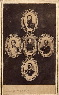Alegoría de Carlota Amalia, Maximiliano de Habsburgo, Miguel Miramón, Ramón Méndez y Tomas Mejía