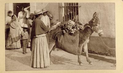 Vendedora de verdura con asno, tarjeta de visita