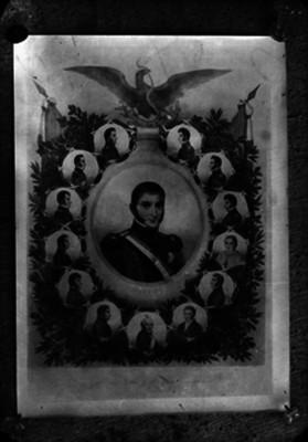 Agustín de Iturbide y personajes de la independencia, litografía, composición de retrato