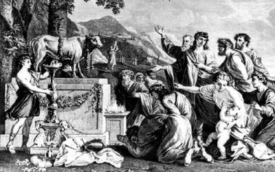 Adoración del becerro de Nicolás Poussin, reprografía