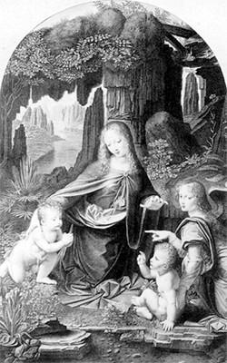 """La Virgen de la Rocas """"Madonna am Felsen"""", de Leonardo da Vinci, reprografía"""