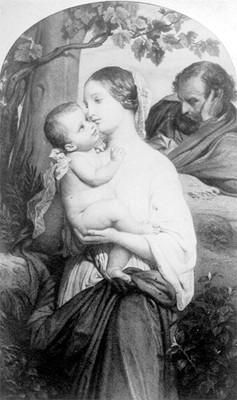 Virgen con niño, obra de Delaroche, grabado