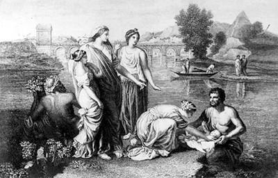 Moisés encontrado en el río, pintura de Poussin, grabado