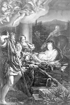 Adoración al niño, pintura de Correggio, grabado