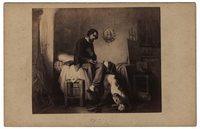 Pintura con la escena de un hombre y su perro, reprografía