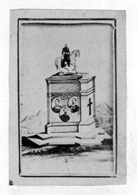 Alegoria del monumento a Maximiliano con los retratos de Mejía, Miramón y Mendez