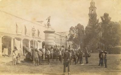 """Fuente y Plaza en Santo Domingo, México, """"5276. Mexico. Fountain and square at San Domingo"""""""