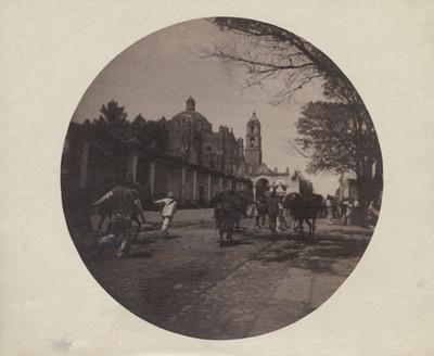 Calle con arrieros y campesinos