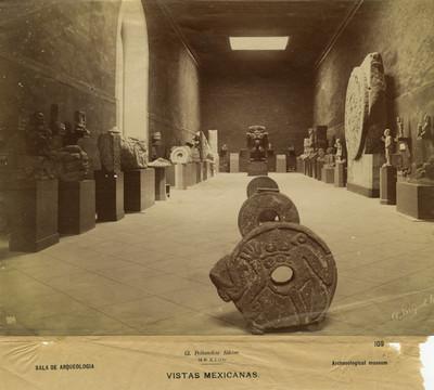 """""""Sala de Arqueología. Vistas Mexicanas. Archeological museum"""", Museo Nacional"""