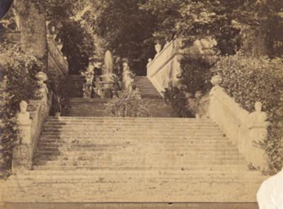 """Escalinata y fuente de la Villa Corsini en Roma, Italia, """"198 C. Gradinata e Fontana nella Villa Corsini, Roma"""""""