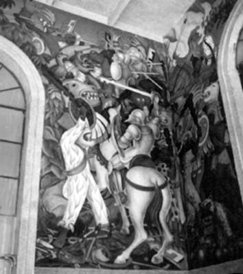 Mural realizada por Diego Rivera en el palacio de Cortés