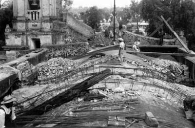 Obras de restauración de la bóveda del templo de Churubusco