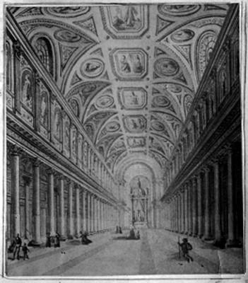 Litografia del interior de una iglesia