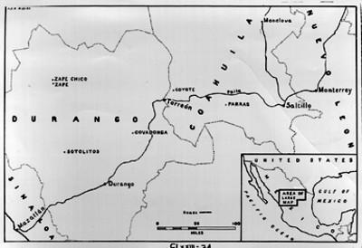 """""""Mapa de los estados de Durango y Coahuila"""", detalle"""