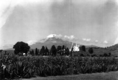 Popocatépetl visto desde Cholula, paisaje