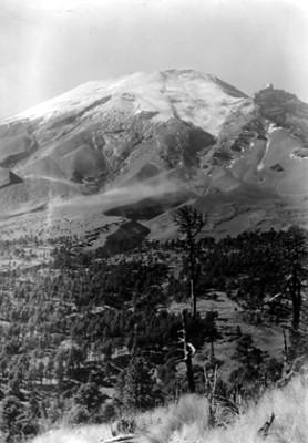 Vista parcial del volcán Popocatépetl