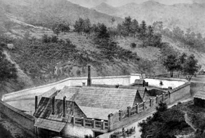 Litografía de un taller de mineria
