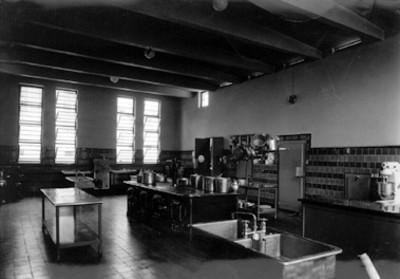 Interior de la cocina del sanatorio para tuberculosos de Hipulco