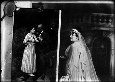 Pareja se abraza y mujer vestida de novia, reprografía