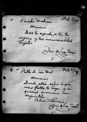 Recados a Pancho Medina y Pablo de León Toral de parte de José de León Toral, reprografía