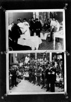 Arriba, miembros de la Cruz Roja atienden enfermos; abajo, durante una ceremonia