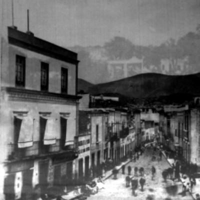 """""""Guanajuato. Calle de Belén"""", vista parcial, estereoscópica"""