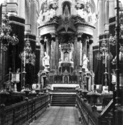 """Interior de la Catedral de Puebla"", Ciprés o Baldaquino, estereoscópica"