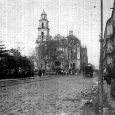 """""""México. Iglesia de Sto. Domingo"""" y plaza, estereoscópica"""
