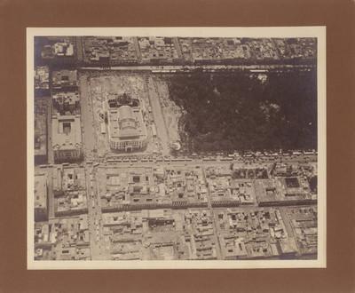 Palacio de Bellas Artes, en construcción, vista aérea