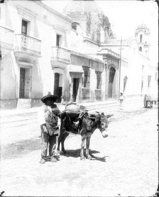 Hombre con un burro caminan por la calle, retrato