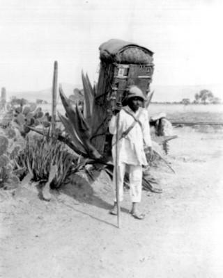 Indígena carga caja en la espalda