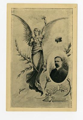 Tarjeta postal con el retrato de Francisco I. Madero y una alegoría a la libertad