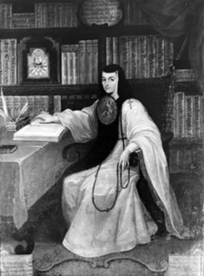 Sor Juana Inés de la Cruz, retrato al óleo, reprografía