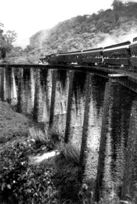 Ferrocarril transita sobre el puente de Metlac