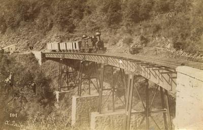 Ferrocarril transita sobre el puente de las cumbres de Maltrata