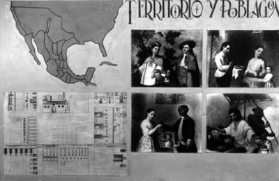 Mampara ilustrativa del territorio y población mexicana novohispana