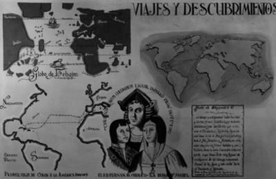 Mampara ilustrativa de viajes y descubrimientos de Cristóbal Colón