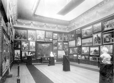 Exhibición de pinturas y esculturas en la Academia de San Carlos