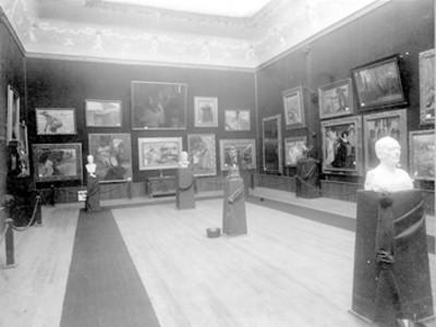 Exposición de pinturas y esculturas en la Academia de San Carlos