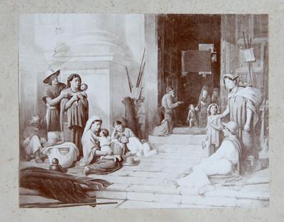 Reprografía de una litografía de tema típico fuera de una iglesia