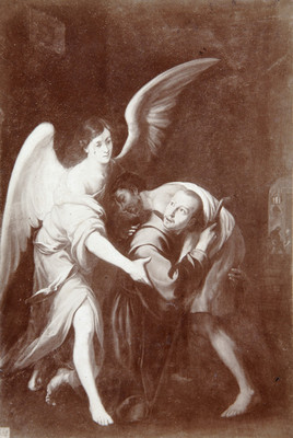 Ángel sujeta a un fraile que carga a un enfermo, reprografía
