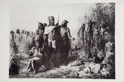 Litografía de la lleganda de los Mexicas al islote