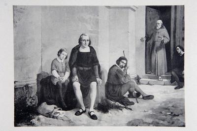 Litografía de Cristóbal Colon con integrantes de su tripulación