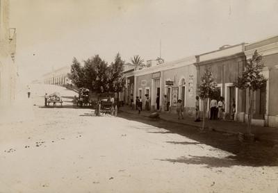Personas en una calle con comercios