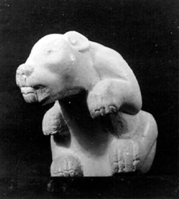 Escultura de jaguar, vista frontal
