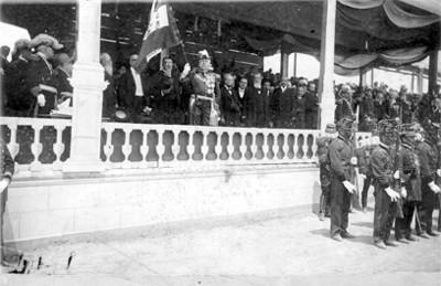 Porfirio Díaz en jura de bandera