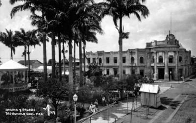 """""""Jardín y palacio [de] Tapachula"""" vista parcial"""