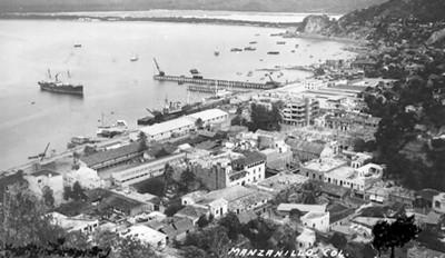 Manzanillo, vista del puerto, tarjeta postal